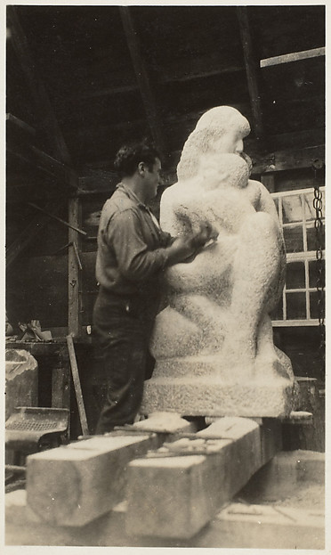 "Early Stage of Carving ""Mother and Child"""