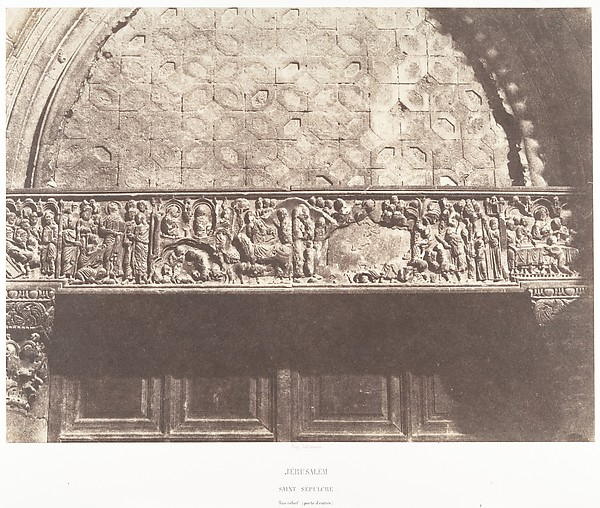 Jérusalem, Saint-Sépulcre, Bas-relief (porte d'entrée)