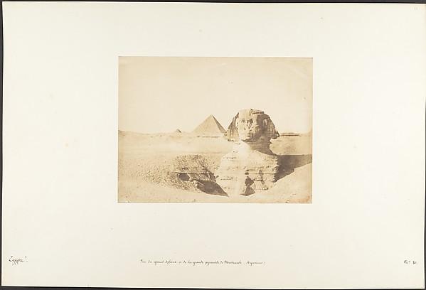 Vue du grand Sphinx et de la grande pyramide de Menkazeh (Mycerinus)