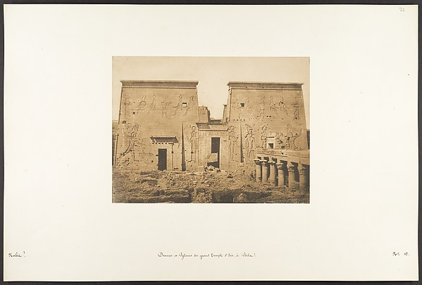 Fascinating Historical Picture of Maxime Du Camp with Dromos et Pylones du grand Temple dIsis  Philae on 4/13/1850