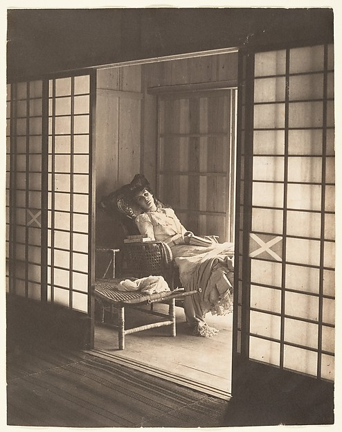 [Olga Reclining in a Wicker Chair, Japan]