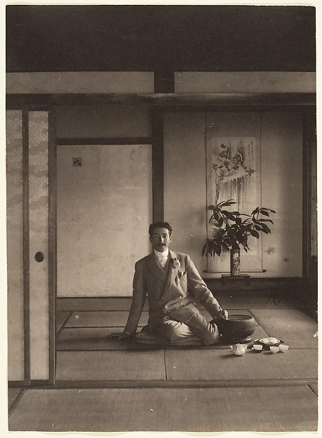 [Men Sitting in Japanese House with Teapot and Cups]