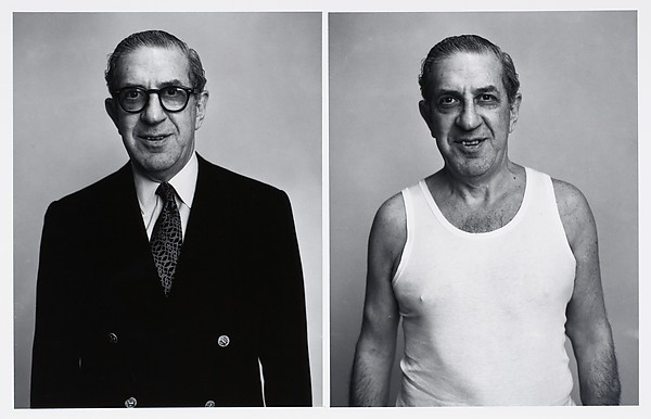 [Two Portraits of the Same Man, One in Suit, The Other in Undershirt]