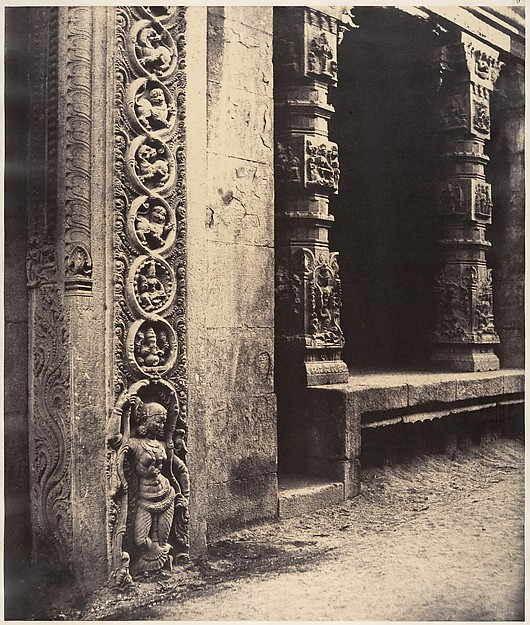 Fascinating Historical Picture of Linnaeus Tripe with Pillars in the Recessed Portico in the Roya Gopuram with the Base of One of the Four Sculptured Mono on 1/15/1858