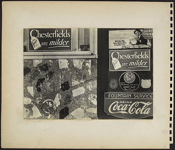 [Cigar Stand Facade Detail with Flagstone Wall and Advertisements, New York City]