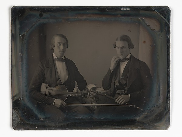 Fascinating Historical Picture of Unknown with [Violinist and Flute Player] in 1847