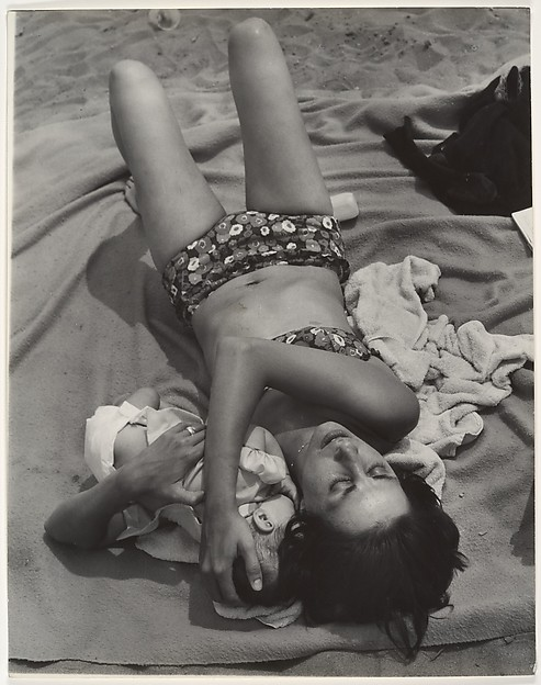 [Beach Scene: Woman in Bikini Cuddling Baby, Coney Island, New York]