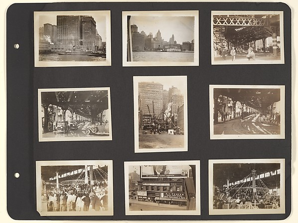 [Album page: Carnival Rides, Brooklyn Skyline, and Underneath the Elevated Train, New York City]