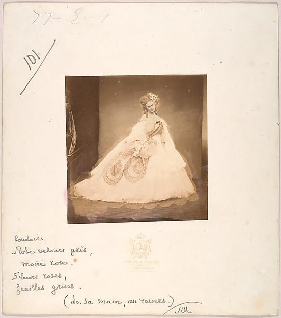 La Bisi. Boudoir, robe velour gris, moire rose, fleurs roses, feuilles grises (de sa mai, au revers.)