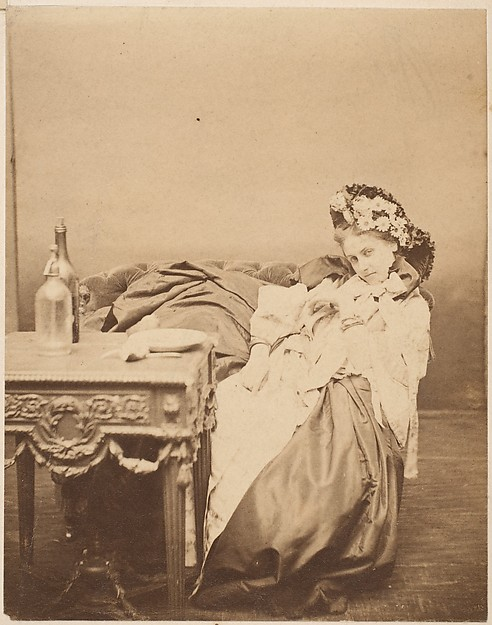 [La Comtesse in Flowered Hat Seated at Table]