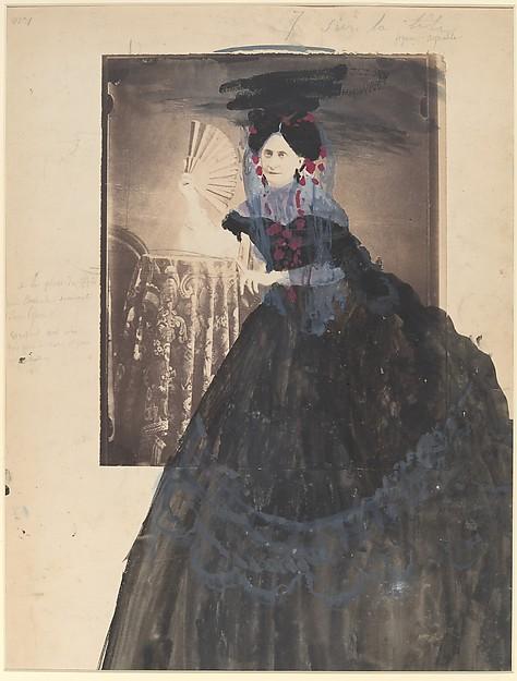[La Comtesse at Table holding Fan]