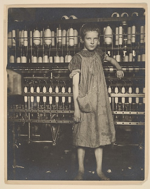 "Addie Card, 12 years. Spinner in North Pownal Cotton Mill. Girls in mill say she is ten years. She admitted to me she was twelve; that she started during school vacation and now would ""stay"". Location: Vermont"