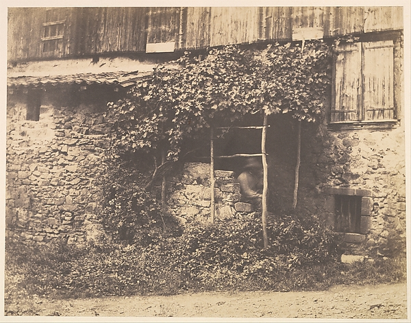 [Rustic Building with Man under Trellis]