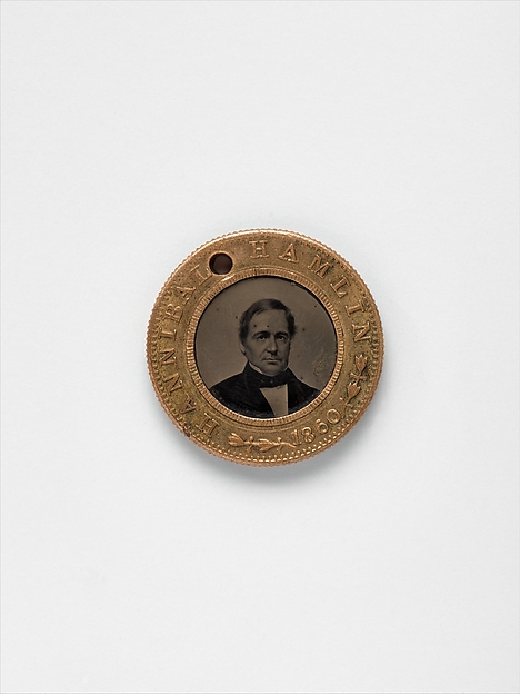 [Presidential Campaign Medal with portraits of Abraham Lincoln and Hannibal Hamlin]