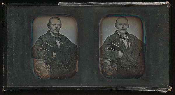 This is What Unknown and [Stereoscopic Portrait of Man Holding Stereoscopic Viewer] Looked Like  in 1840