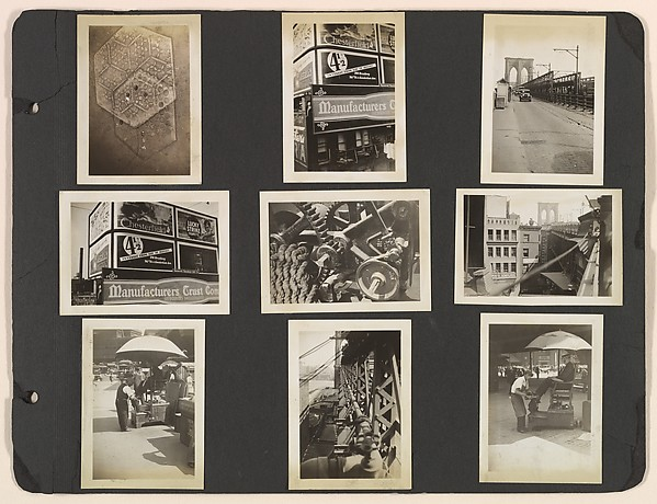 [Brooklyn Bridge, Billboards, Shoe Shine Stand, New York]