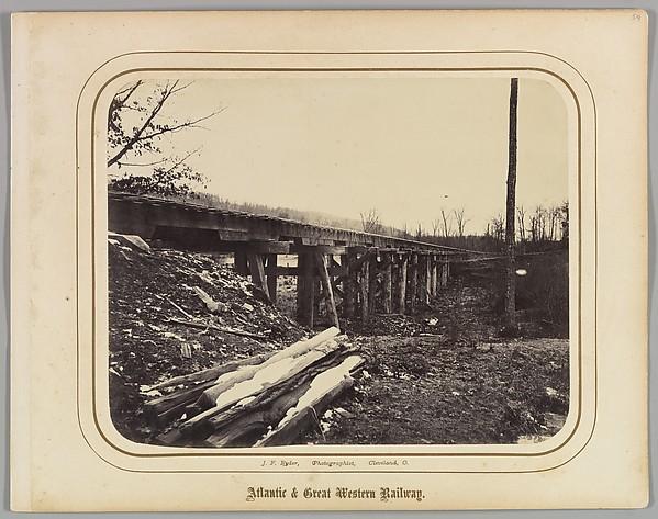 [Winter Scene with Trestle Bridge Along the Atlantic & Great Western Railway]