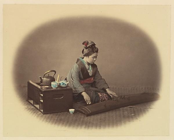 [Woman with Tea Set Playing the Koto]
