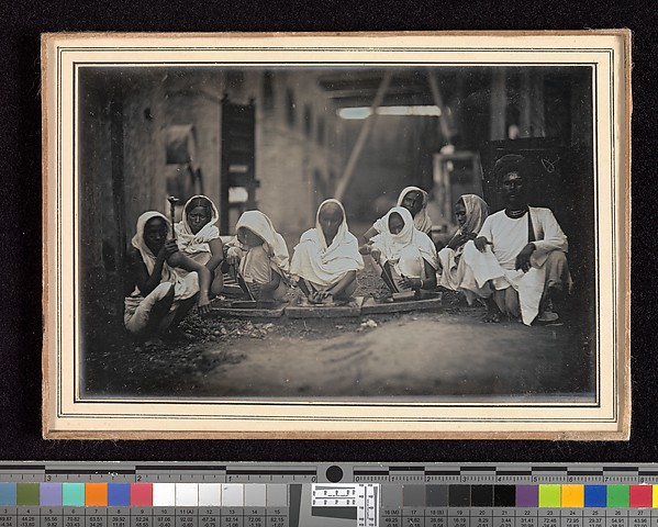 Fascinating Historical Picture of Unknown with [Women Grinding Paint Calcutta] in 1845
