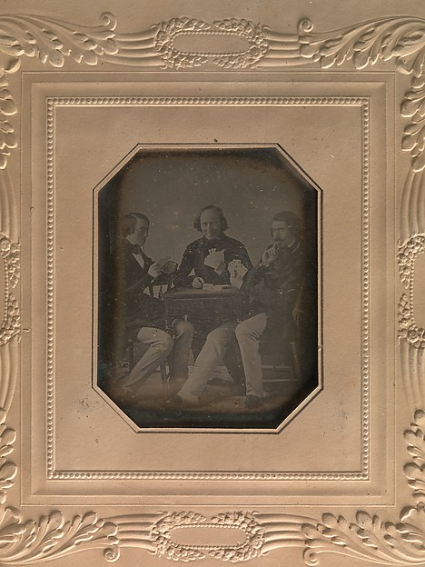 Fascinating Historical Picture of William Langenheim with Three Men Playing Cards on 3/15/1842