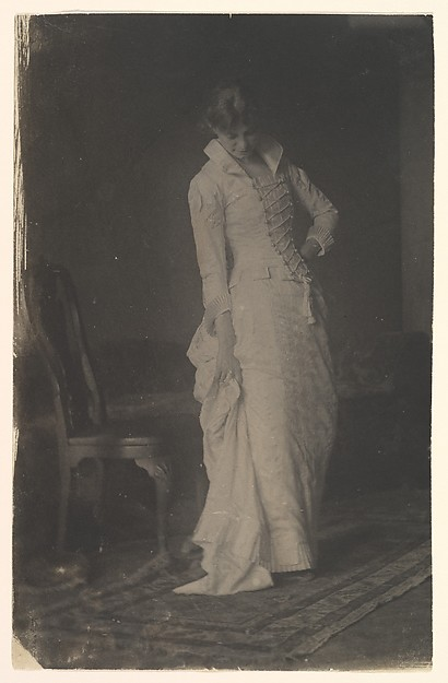 [Woman in White Laced-bodice Dress in Studio of Thomas Eakins]