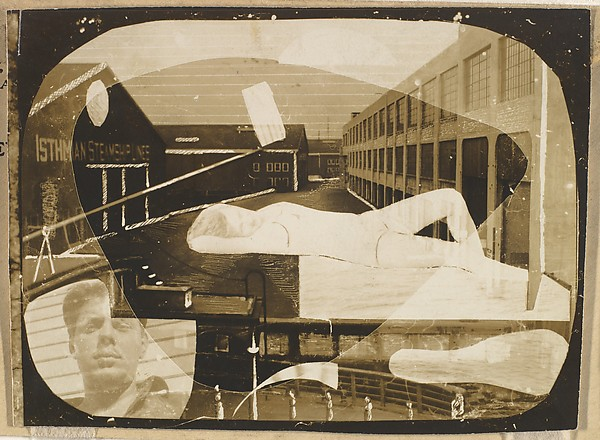 [Waterfront Scene with Collaged Elements: Reclining Woman, Self-Portrait]