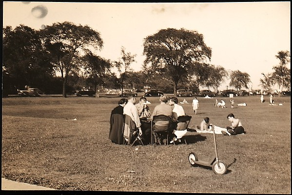 "[Group Seated on Chairs in Park, for Fortune Portfolio: ""Chicago: A Camera Exploration""]"