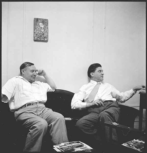 [12 Portraits of Two Unidentified Men Seated in Walker Evans' Apartment at 441 East 92nd Street, New York City]