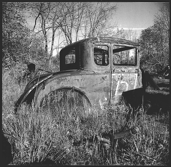 """[9 Views of Abandoned Cars in """"Auto Graveyard,"""" Old Lyme, Connecticut]"""