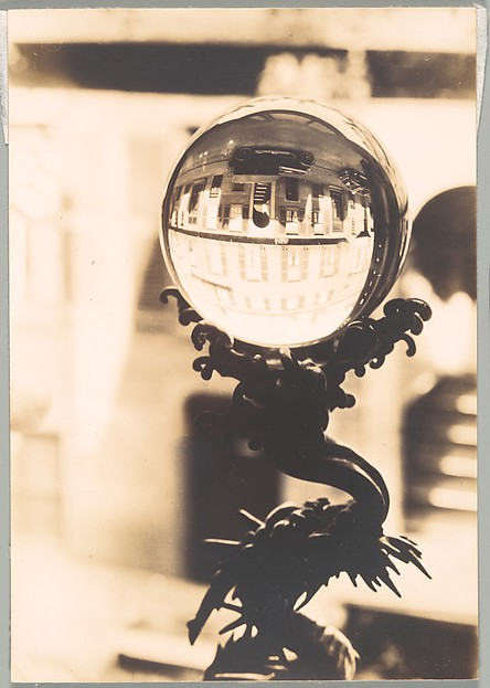 [Building Reflections in Crystal Ball, West Cedar Street, Beacon Hill, Boston, Massachusetts]