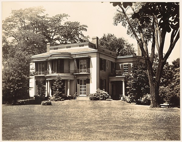 [Two Story House with Rounded Balcony, Seen from Across Lawn, Cambridge, Massachusetts]