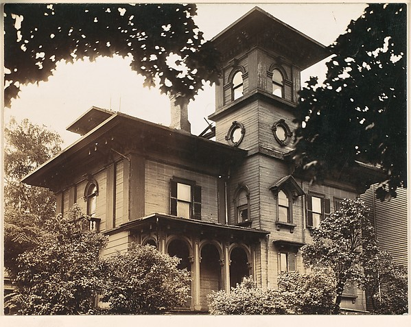 [Wooden Italianate Revival House with Simple Hipped Roof and Square Tower, Roxbury or Dorchester, Massachusetts]