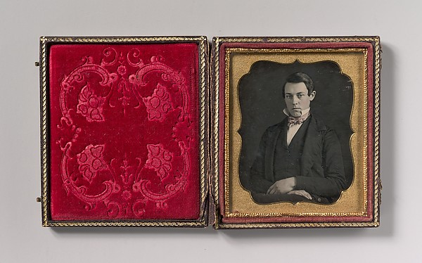 Fascinating Historical Picture of Unknown with [Young Man with Up-turned Collar and Bow Tie] in 1850