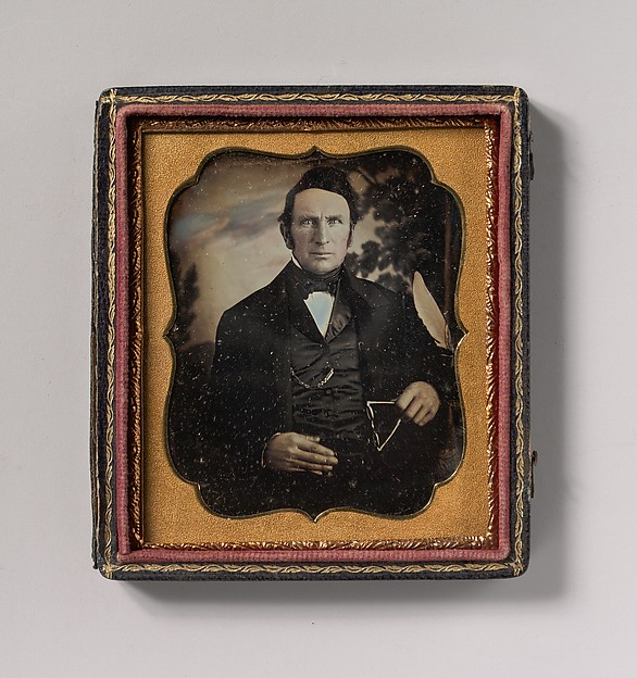 Fascinating Historical Picture of Unknown with [Man Holding Glasses in Front of Painted Outdoor Backdrop] in 1850