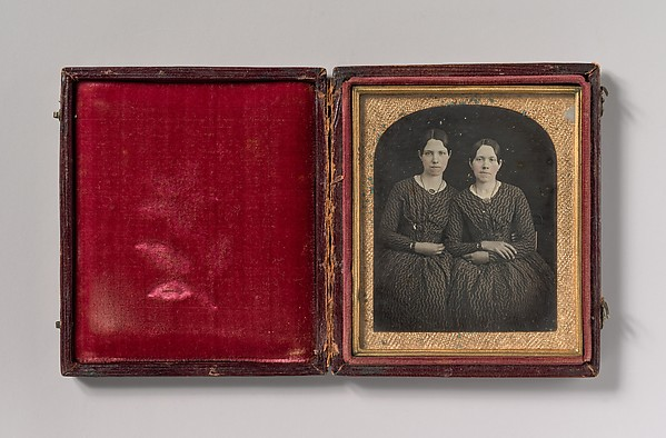 This is What Unknown and [Two Seated Young Women Identically Dressed] Looked Like  in 1840