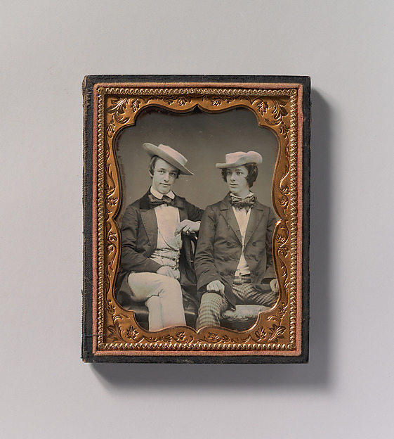Fascinating Historical Picture of Unknown with [Two Seated Young Men Wearing Gingham Trousers Bow Ties and Brimmed Soft Hats] in 1850