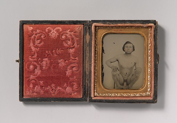 Fascinating Historical Picture of Unknown with [Nude Man Squatting on Chair] in 1850