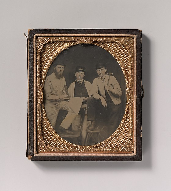 This is What Unknown and [Three Carpenters Standing Holding a Ruler Hammer and Sheet of Paper] Looked Like  in 1850