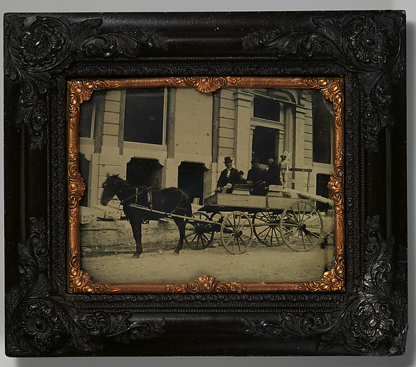 This is What Unknown and [Three Men Seated in a Horse-Drawn Buggy in Front of a Building Under Construction] Looked Like  in 1850