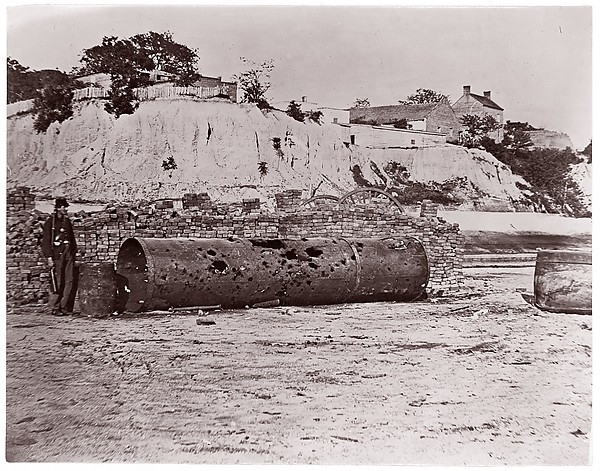 "Smokestack of Confederate Ram Merrimac at Richmond/Remains of Ironclad Ram ""Virginia #2"", April, 1865"