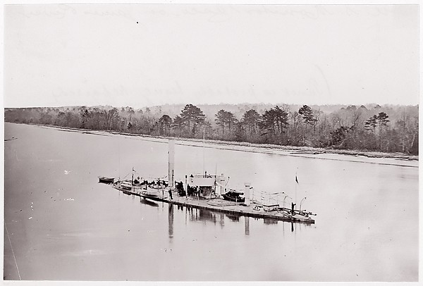 "U.S. Monitor ""Casco"" on James River, taken from a lookout tower on bank."