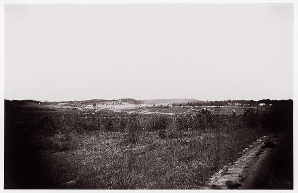 [Landscape with army encampment in the distance].  Brady album, p. 125