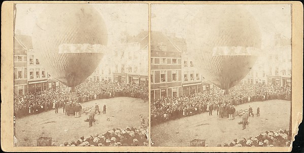 Fascinating Historical Picture of Unknown with [Stereograph View of a Hot Air Balloon] in 1850