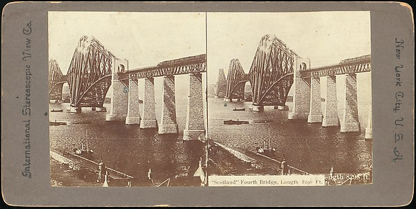 [Group of 7 Stereograph Views of the Forth Bridge, Queensferry, Scotland]