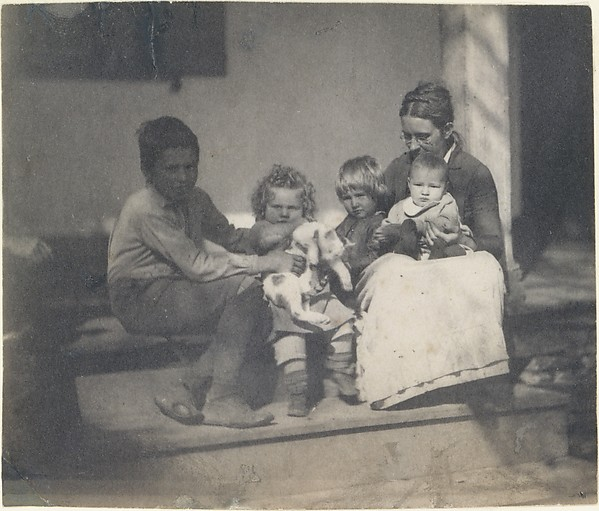 [Frances Crowell with Unidentified Boy, Katie, James, and Frances Crowell]