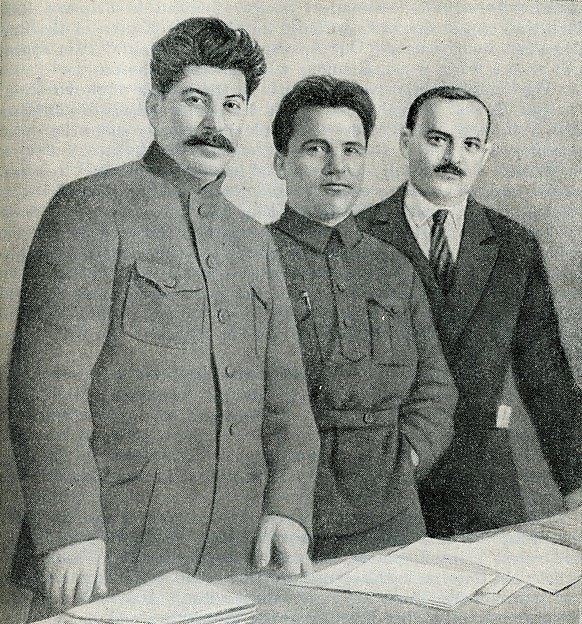 [Josef Stalin, Sergey Kirov, and Nikolay Shvenrik] in A History of the U.S.S.R., part 3 (Moscow, 1948)