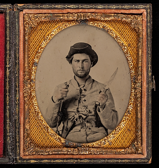 [Private James House with Fighting Knife, Sixteenth Georgia Cavalry Battalion, Army of Tennessee]
