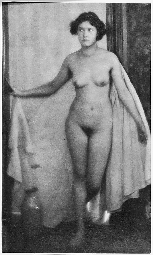 [Standing Female Nude Partially Draped in White Cloth]