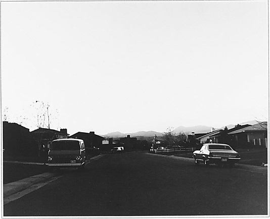 [Twilight Scene of Automobiles Parked before Ranch Houses in Suburban Community, Colorado]