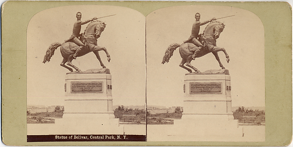 [Stereographic View of Statue of Simon Bolivar by R. de la Cora, Central Park, New York]